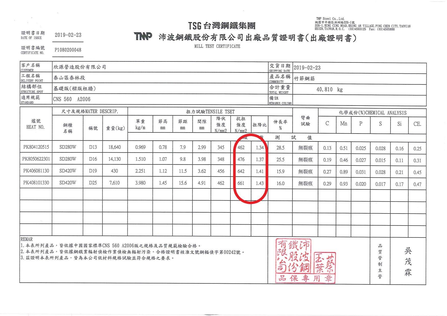 鋼筋拉力證明出場品質保證書